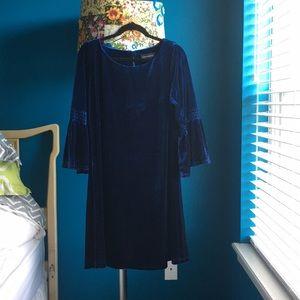velvet shift dress, bell sleeves